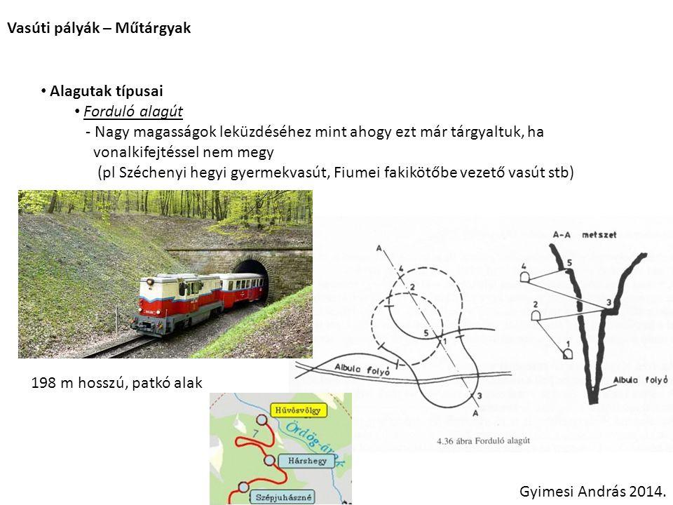 Vasúti pályák – Műtárgyak Gyimesi András 2014. Alagutak típusai Forduló alagút - Nagy magasságok leküzdéséhez mint ahogy ezt már tárgyaltuk, ha vonalk