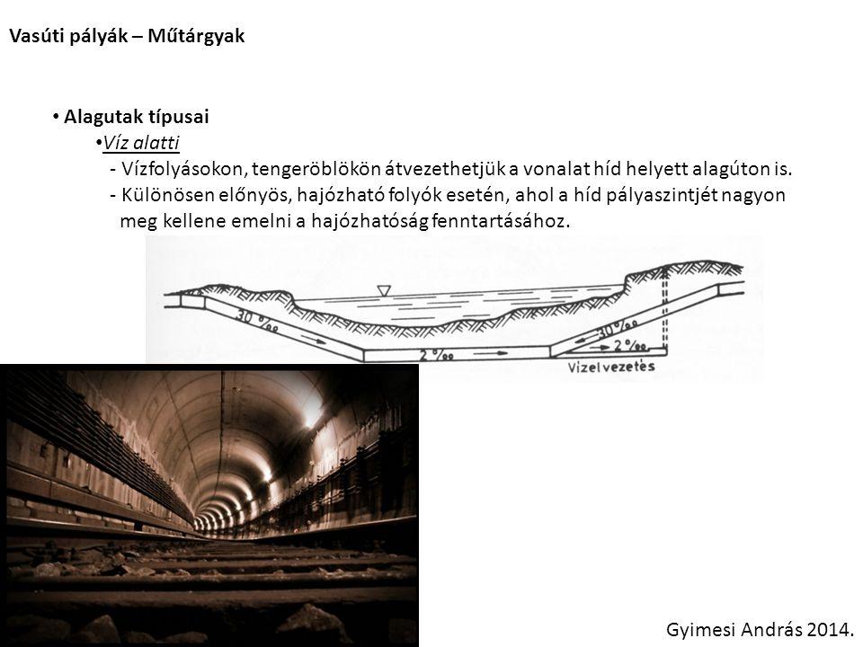 Vasúti pályák – Műtárgyak Gyimesi András 2014. Alagutak típusai Víz alatti - Vízfolyásokon, tengeröblökön átvezethetjük a vonalat híd helyett alagúton