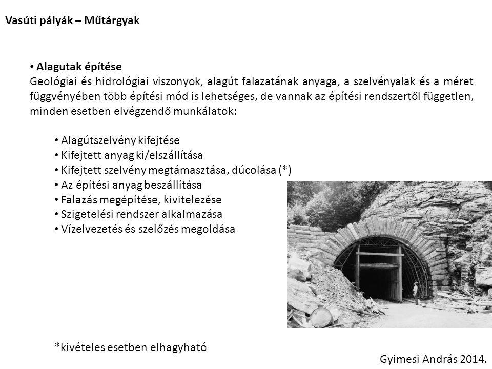 Vasúti pályák – Műtárgyak Gyimesi András 2014. Alagutak építése Geológiai és hidrológiai viszonyok, alagút falazatának anyaga, a szelvényalak és a mér