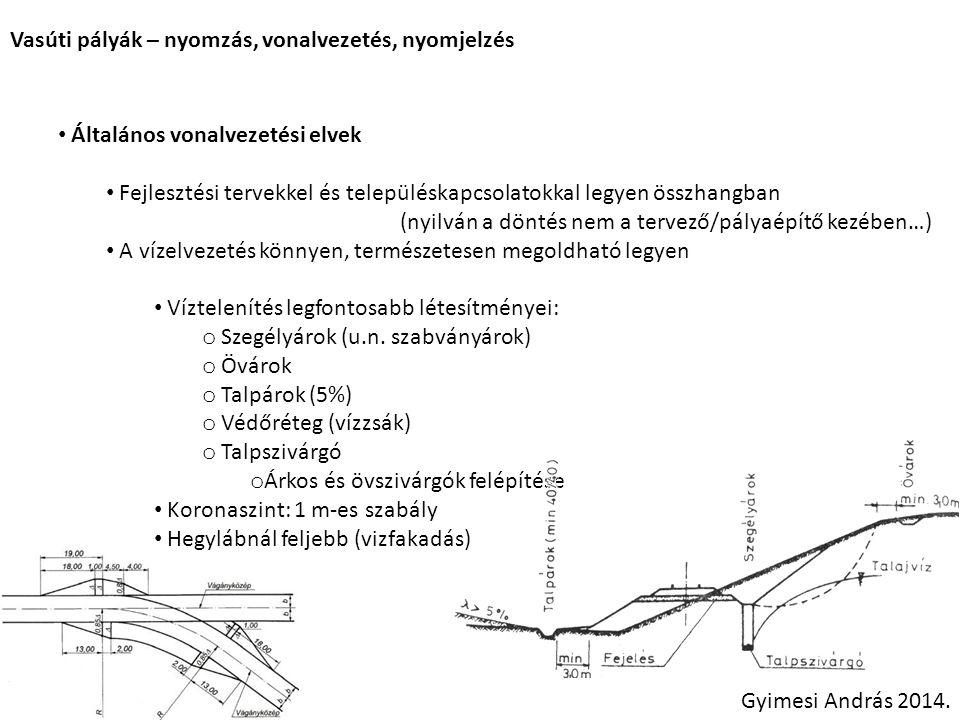 Vasúti pályák – nyomzás, vonalvezetés, nyomjelzés Általános vonalvezetési elvek Fejlesztési tervekkel és településkapcsolatokkal legyen összhangban (nyilván a döntés nem a tervező/pályaépítő kezében…) A vízelvezetés könnyen, természetesen megoldható legyen Víztelenítés legfontosabb létesítményei: o Szegélyárok (u.n.