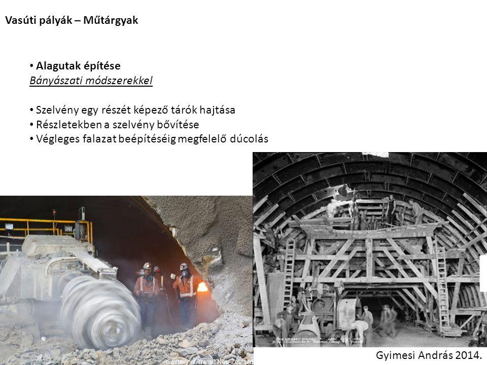 Vasúti pályák – Műtárgyak Gyimesi András 2014. Alagutak építése Bányászati módszerekkel Szelvény egy részét képező tárók hajtása Részletekben a szelvé