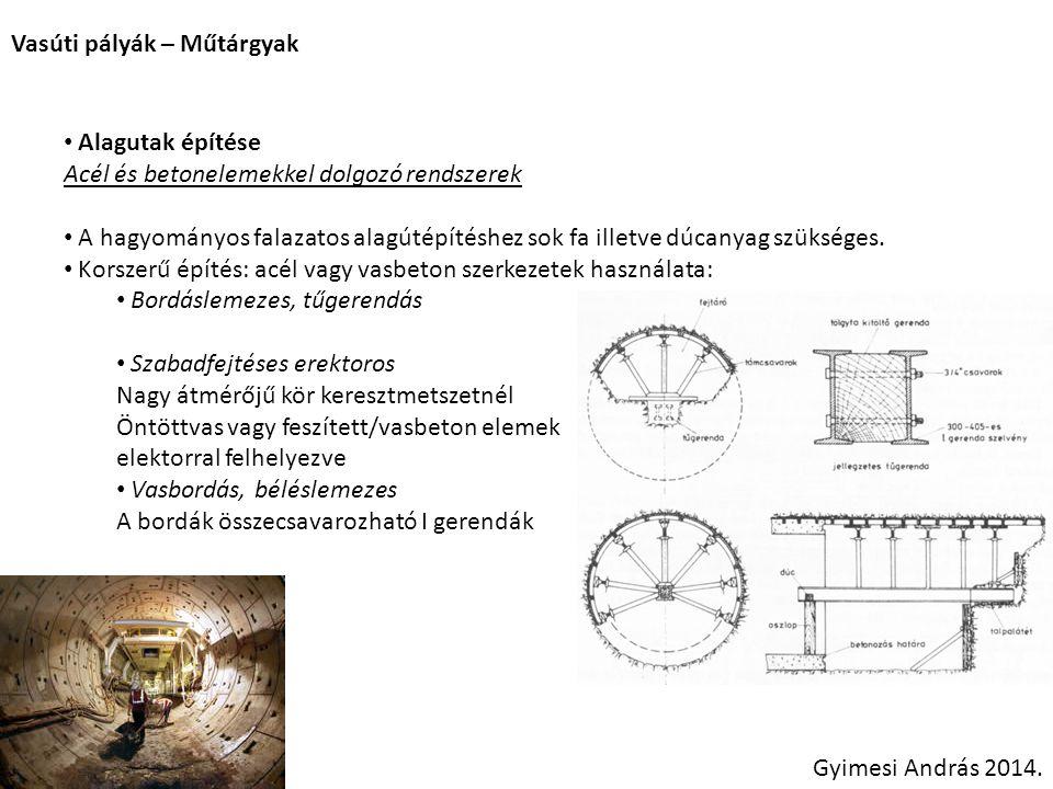 Vasúti pályák – Műtárgyak Gyimesi András 2014. Alagutak építése Acél és betonelemekkel dolgozó rendszerek A hagyományos falazatos alagútépítéshez sok