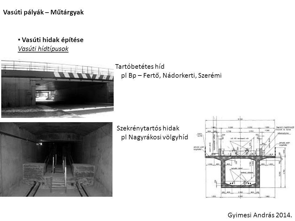 Vasúti pályák – Műtárgyak Gyimesi András 2014. Vasúti hidak építése Vasúti hídtípusok Tartóbetétes híd pl Bp – Fertő, Nádorkerti, Szerémi Szekrénytart