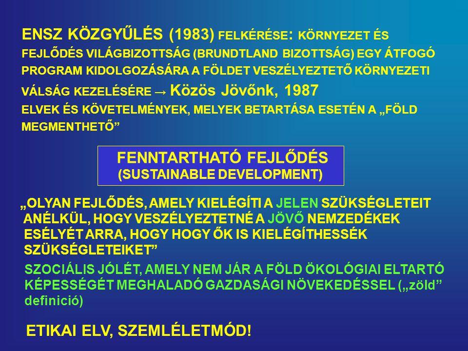 """ENSZ KÖZGYŰLÉS (1983) FELKÉRÉSE : KÖRNYEZET ÉS FEJLŐDÉS VILÁGBIZOTTSÁG (BRUNDTLAND BIZOTTSÁG) EGY ÁTFOGÓ PROGRAM KIDOLGOZÁSÁRA A FÖLDET VESZÉLYEZTETŐ KÖRNYEZETI VÁLSÁG KEZELÉSÉRE → Közös Jövőnk, 1987 ELVEK ÉS KÖVETELMÉNYEK, MELYEK BETARTÁSA ESETÉN A """"FÖLD MEGMENTHETŐ FENNTARTHATÓ FEJLŐDÉS (SUSTAINABLE DEVELOPMENT) """"OLYAN FEJLŐDÉS, AMELY KIELÉGÍTI A JELEN SZÜKSÉGLETEIT ANÉLKÜL, HOGY VESZÉLYEZTETNÉ A JÖVŐ NEMZEDÉKEK ESÉLYÉT ARRA, HOGY HOGY ŐK IS KIELÉGÍTHESSÉK SZÜKSÉGLETEIKET SZOCIÁLIS JÓLÉT, AMELY NEM JÁR A FÖLD ÖKOLÓGIAI ELTARTÓ KÉPESSÉGÉT MEGHALADÓ GAZDASÁGI NÖVEKEDÉSSEL (""""zöld definició) ETIKAI ELV, SZEMLÉLETMÓD!"""