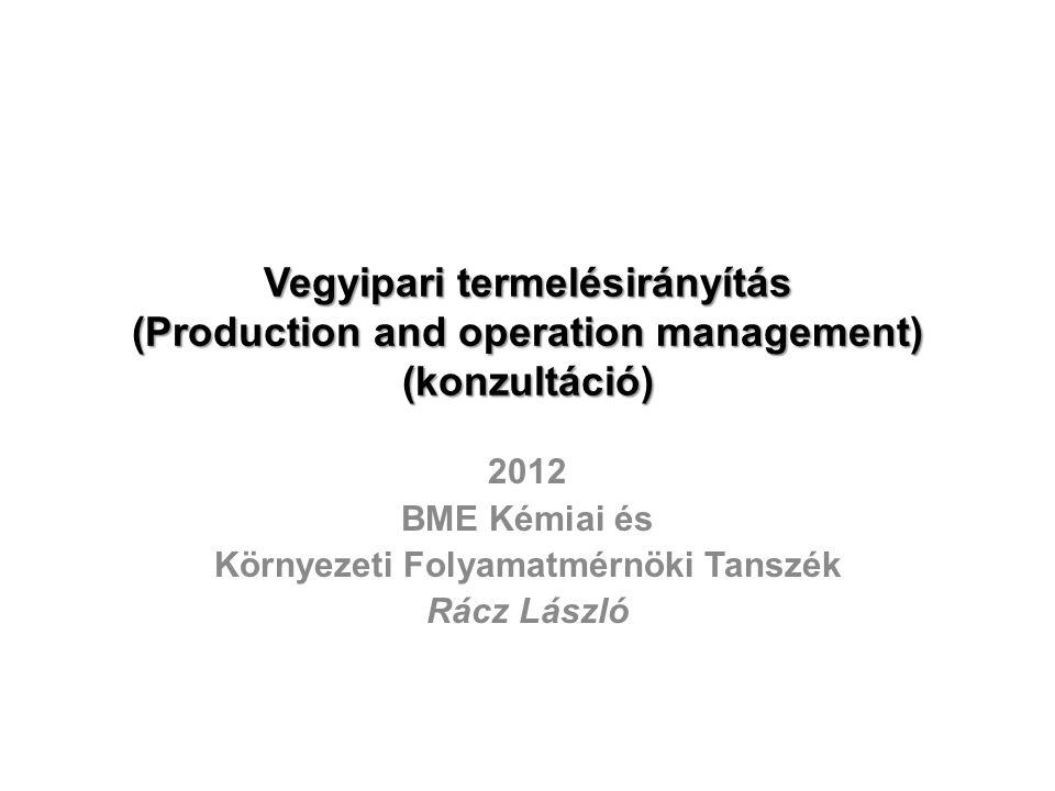 Vegyipari termelésirányítás (Production and operation management) (konzultáció) 2012 BME Kémiai és Környezeti Folyamatmérnöki Tanszék Rácz László