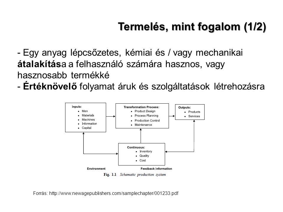 Termelés, mint fogalom (1/2) - Egy anyag lépcsőzetes, kémiai és / vagy mechanikai átalakítása a felhasználó számára hasznos, vagy hasznosabb termékké - Értéknövelő folyamat áruk és szolgáltatások létrehozásra Forrás: http://www.newagepublishers.com/samplechapter/001233.pdf
