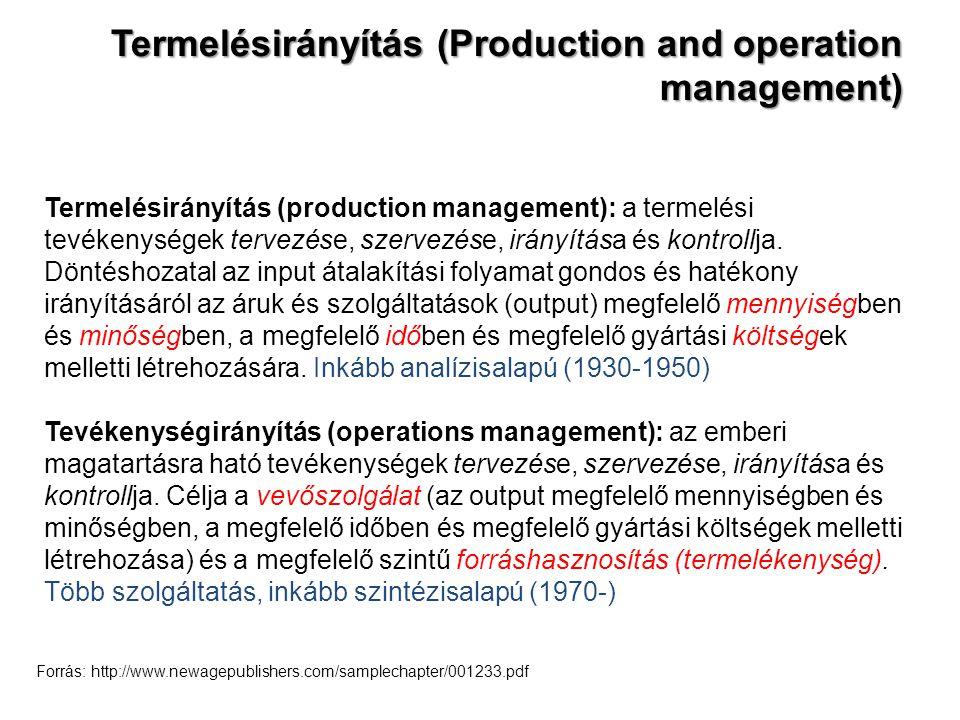 Termelésirányítás (Production and operation management) Termelésirányítás (production management): a termelési tevékenységek tervezése, szervezése, ir