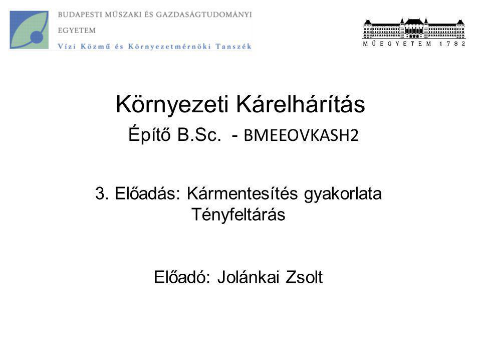 Környezeti Kárelhárítás Építő B.Sc. - BMEEOVKASH2 3. Előadás: Kármentesítés gyakorlata Tényfeltárás Előadó: Jolánkai Zsolt