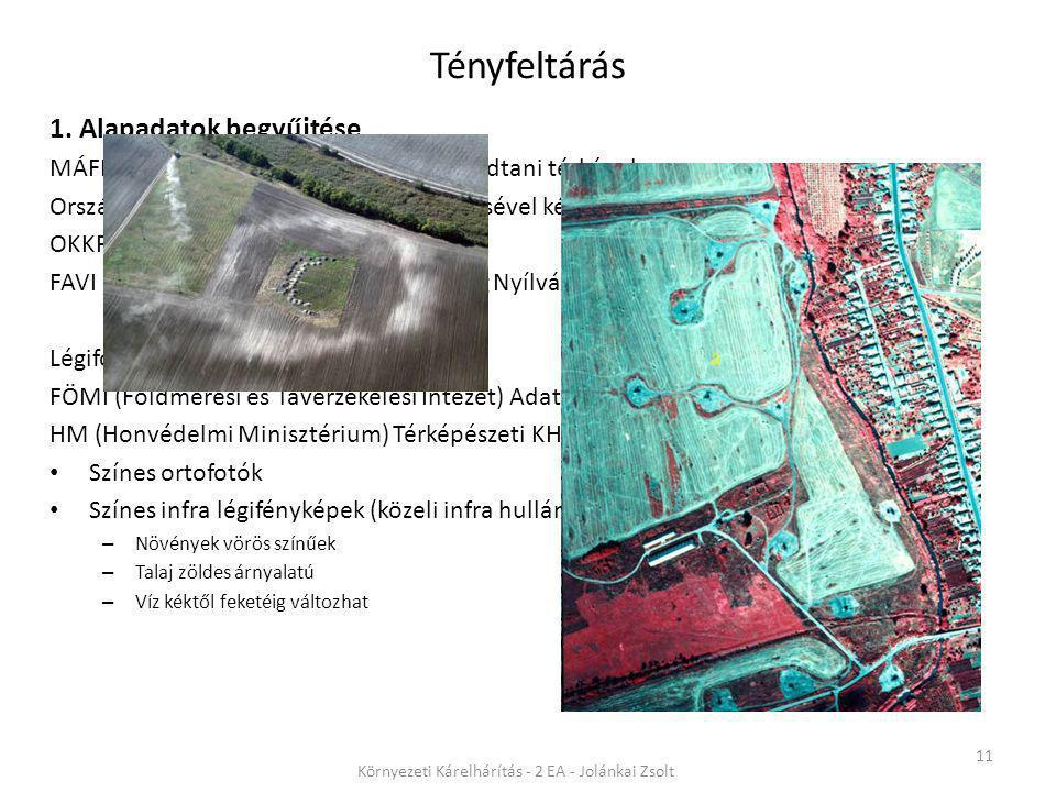 Tényfeltárás 11 Környezeti Kárelhárítás - 2 EA - Jolánkai Zsolt 1. Alapadatok begyűjtése MÁFI (magyar Állami Földtani Intézet) földtani térképek Orszá