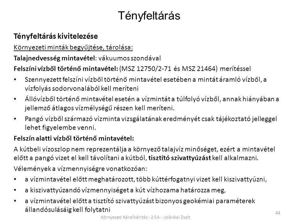 Tényfeltárás 44 Környezeti Kárelhárítás - 2 EA - Jolánkai Zsolt Tényfeltárás kivitelezése Környezeti minták begyűjtése, tárolása: Talajnedvesség minta