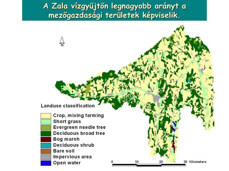 A Zala vízgyűjtőn legnagyobb arányt a mezőgazdasági területek képviselik.