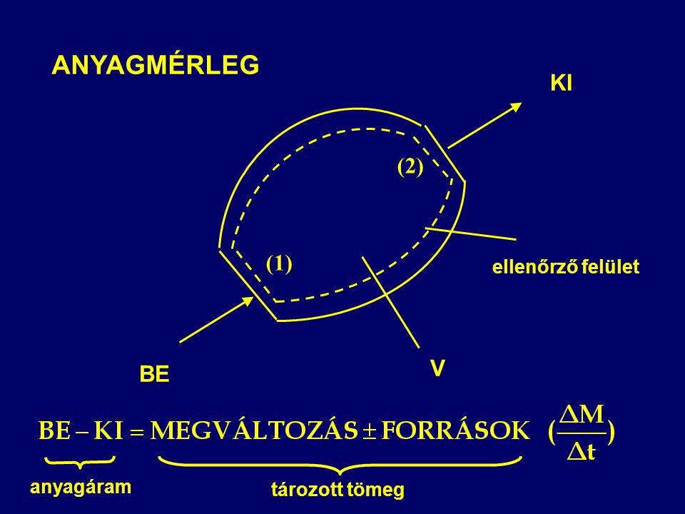 ANYAGMÉRLEG ellenőrző felület V BE (1) KI (2) anyagáram tározott tömeg