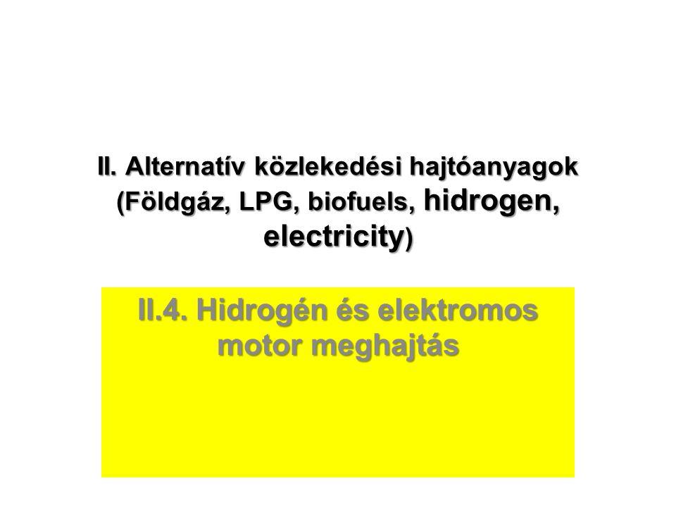 II. Alternatív közlekedési hajtóanyagok (Földgáz, LPG, biofuels, hidrogen, electricity ) II.4. Hidrogén és elektromos motor meghajtás