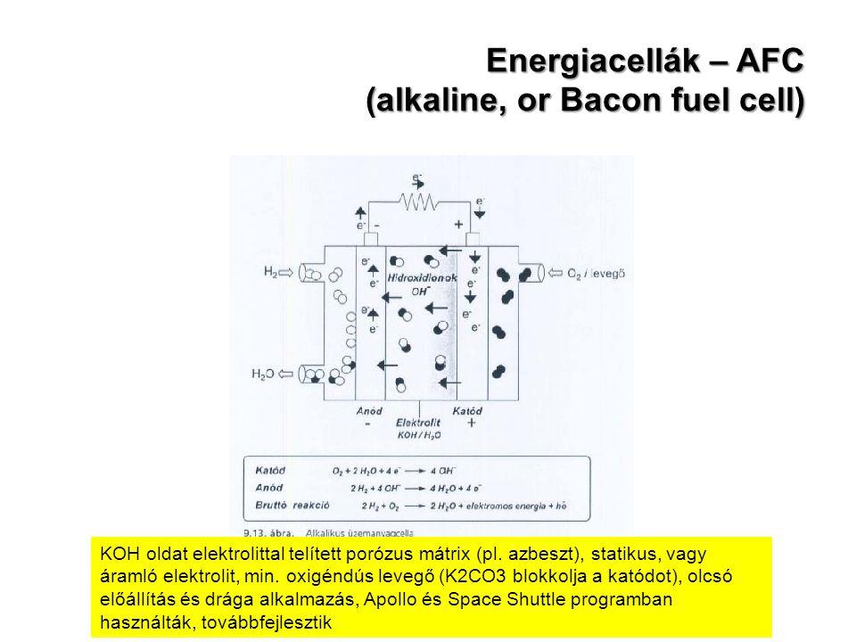 Energiacellák – AFC (alkaline, or Bacon fuel cell) KOH oldat elektrolittal telített porózus mátrix (pl. azbeszt), statikus, vagy áramló elektrolit, mi