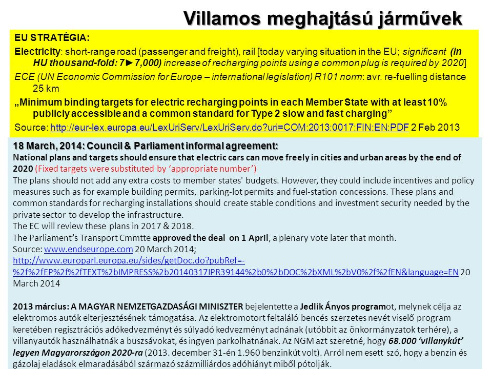 Villamos meghajtású járművek EU STRATÉGIA: Electricity: short-range road (passenger and freight), rail [today varying situation in the EU; significant