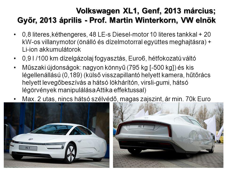 Volkswagen XL1, Genf, 2013 március; Győr, 2013 április - Prof. Martin Winterkorn, VW elnök 0,8 literes,kéthengeres, 48 LE-s Diesel-motor 10 literes ta