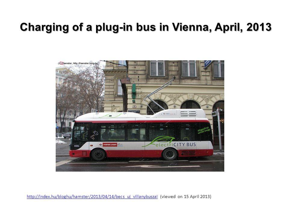 Charging of a plug-in bus in Vienna, April, 2013 http://index.hu/bloghu/hamster/2013/04/14/becs_uj_villanybuszaihttp://index.hu/bloghu/hamster/2013/04