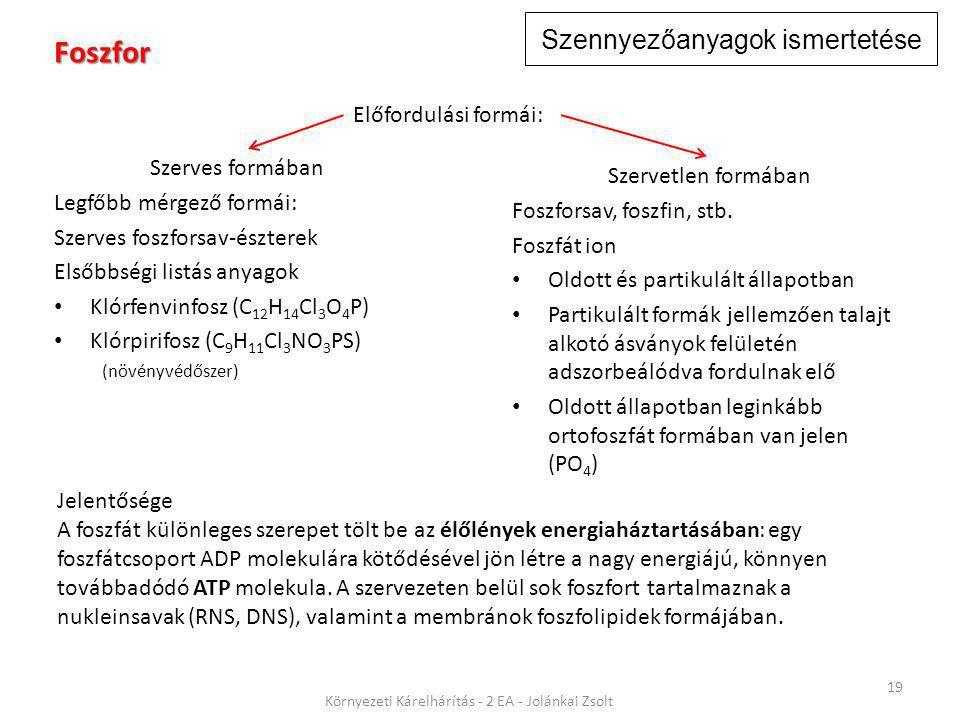 Szennyezőanyagok ismertetése 19 Környezeti Kárelhárítás - 2 EA - Jolánkai Zsolt Foszfor Szerves formában Legfőbb mérgező formái: Szerves foszforsav-észterek Elsőbbségi listás anyagok Klórfenvinfosz (C 12 H 14 Cl 3 O 4 P) Klórpirifosz (C 9 H 11 Cl 3 NO 3 PS) (növényvédőszer) Jelentősége A foszfát különleges szerepet tölt be az élőlények energiaháztartásában: egy foszfátcsoport ADP molekulára kötődésével jön létre a nagy energiájú, könnyen továbbadódó ATP molekula.