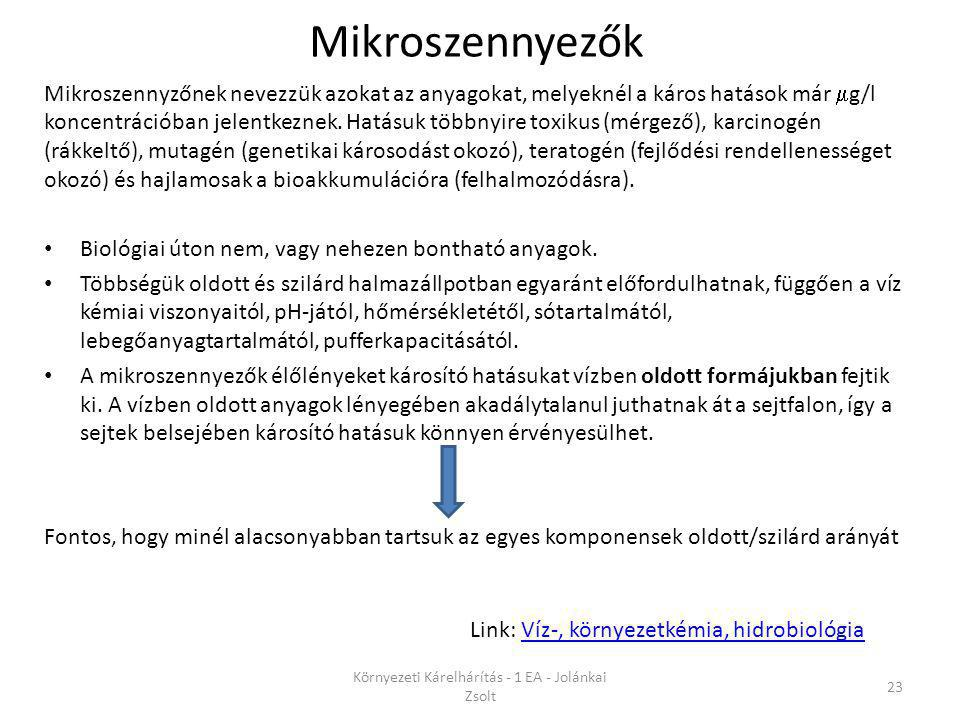 Mikroszennyezők Környezeti Kárelhárítás - 1 EA - Jolánkai Zsolt 23 Link: Víz-, környezetkémia, hidrobiológiaVíz-, környezetkémia, hidrobiológia Mikros
