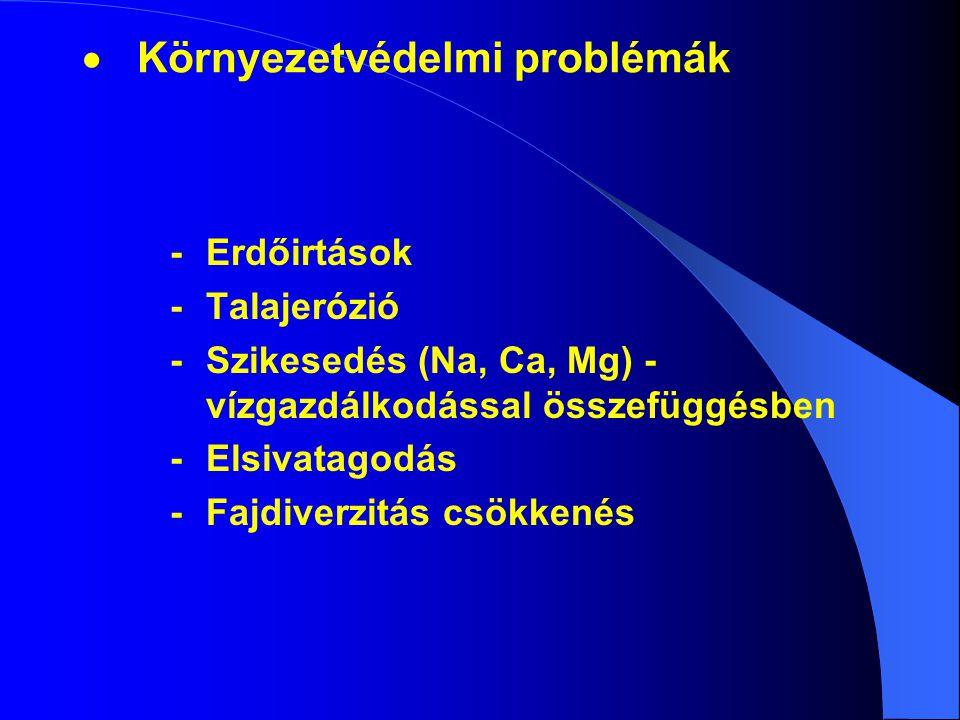   Környezetvédelmi problémák -Erdőirtások -Talajerózió -Szikesedés (Na, Ca, Mg) - vízgazdálkodással összefüggésben -Elsivatagodás -Fajdiverzitás csö