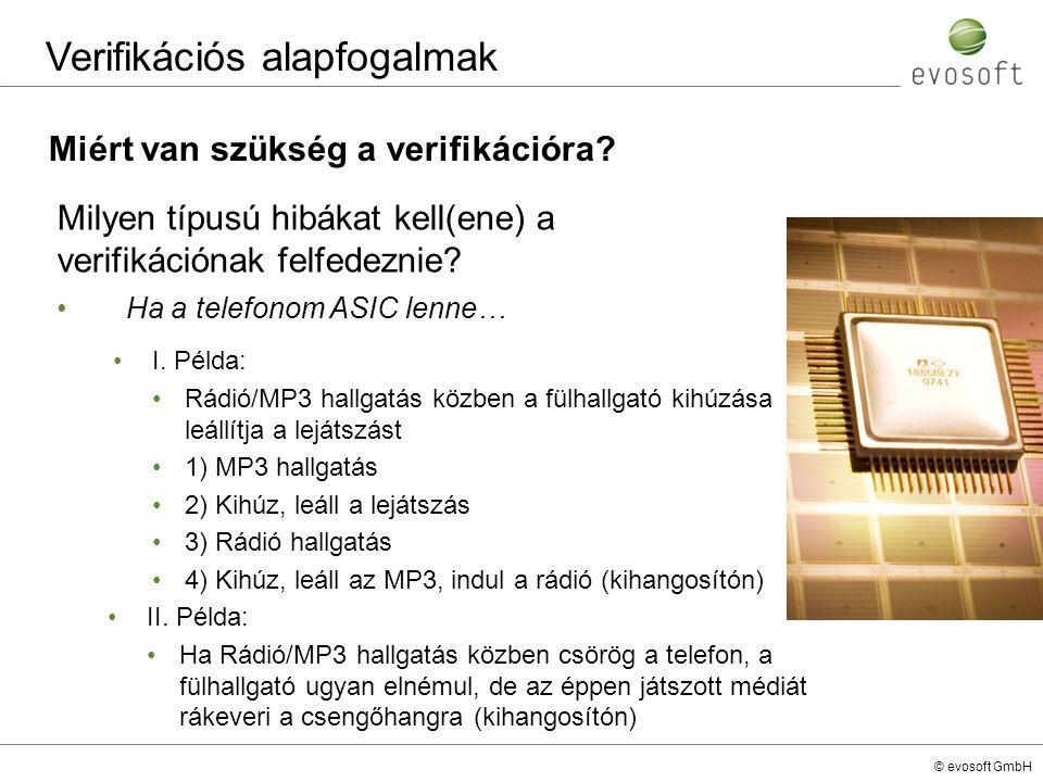 © evosoft GmbH Verifikációs alapfogalmak Milyen típusú hibákat kell(ene) a verifikációnak felfedeznie? II. Példa: Ha Rádió/MP3 hallgatás közben csörög