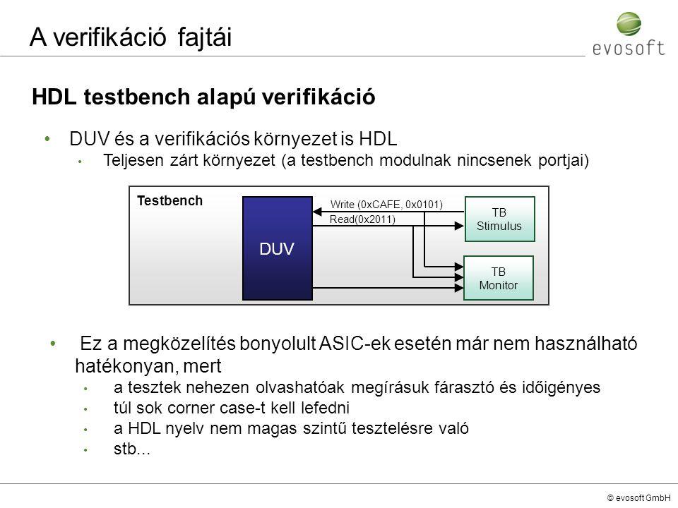 © evosoft GmbH HDL testbench alapú verifikáció A verifikáció fajtái DUV és a verifikációs környezet is HDL Teljesen zárt környezet (a testbench moduln