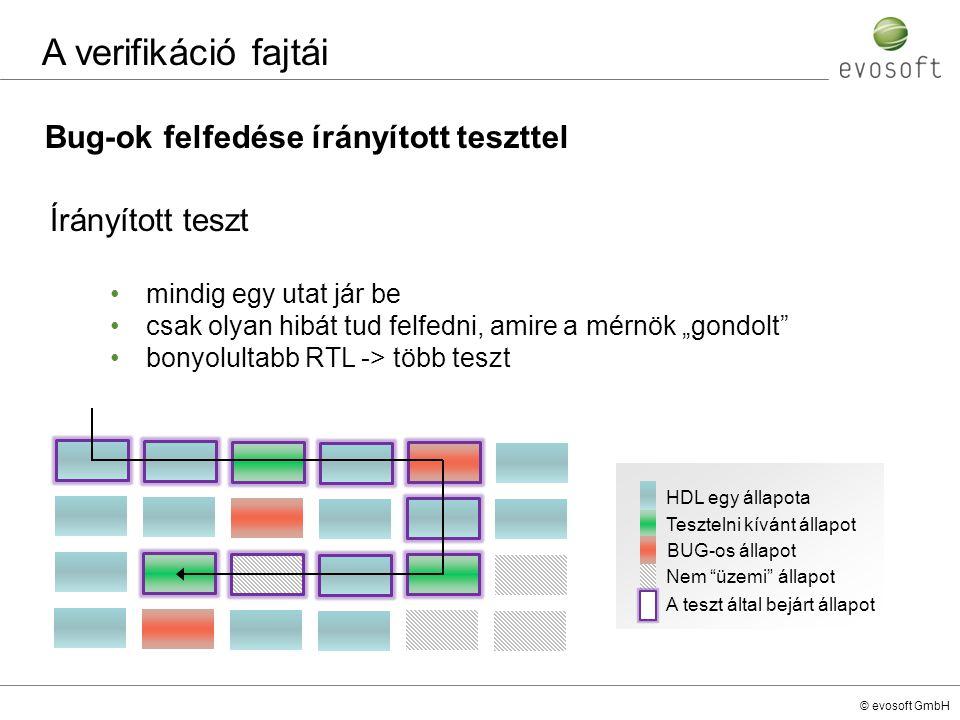 © evosoft GmbH Bug-ok felfedése írányított teszttel A verifikáció fajtái Írányított teszt mindig egy utat jár be csak olyan hibát tud felfedni, amire