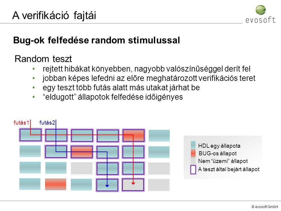 © evosoft GmbH Bug-ok felfedése random stimulussal A verifikáció fajtái Random teszt rejtett hibákat könyebben, nagyobb valószínűséggel derít fel jobb