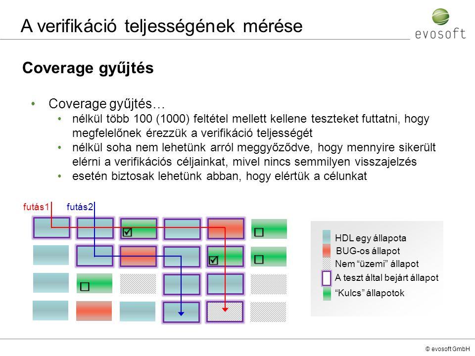 © evosoft GmbH Coverage gyűjtés A verifikáció teljességének mérése Coverage gyűjtés… nélkül több 100 (1000) feltétel mellett kellene teszteket futtatn