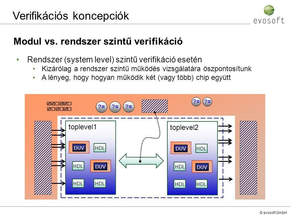 © evosoft GmbH Verifikációs koncepciók Modul vs. rendszer szintű verifikáció Rendszer (system level) szintű verifikáció esetén Kizárólag a rendszer sz