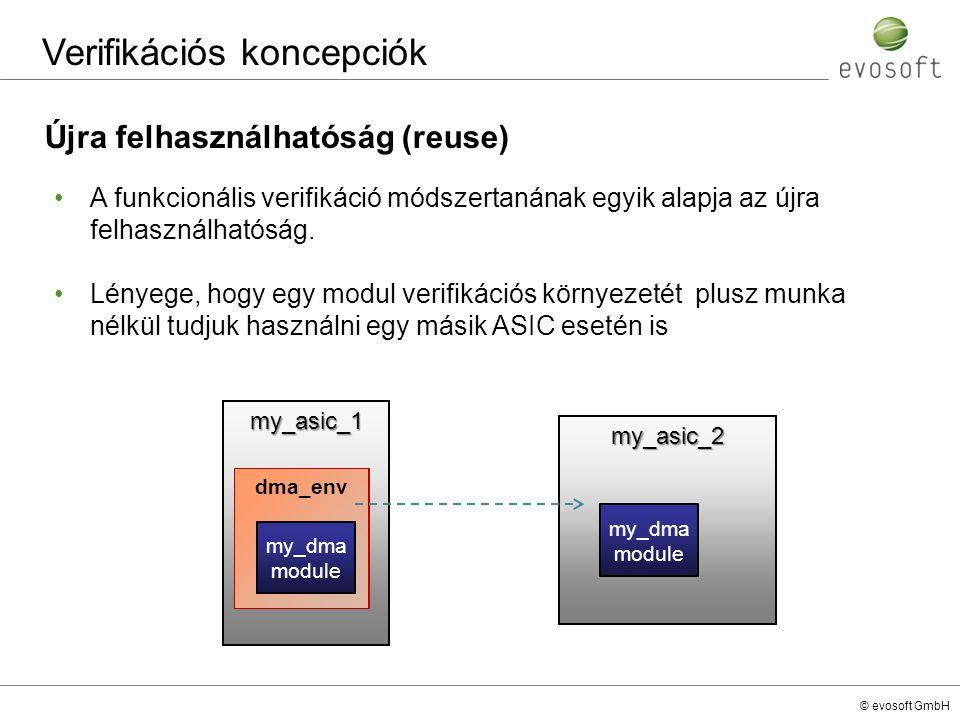 © evosoft GmbH my_asic_1 dma_env my_asic_2 Verifikációs koncepciók Újra felhasználhatóság (reuse) A funkcionális verifikáció módszertanának egyik alap