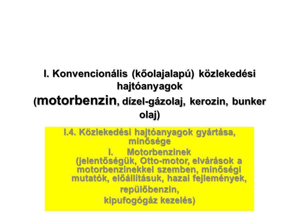 I. Konvencionális (kőolajalapú) közlekedési hajtóanyagok ( motorbenzin, dízel-gázolaj, kerozin, bunker olaj) I.4. Közlekedési hajtóanyagok gyártása, m