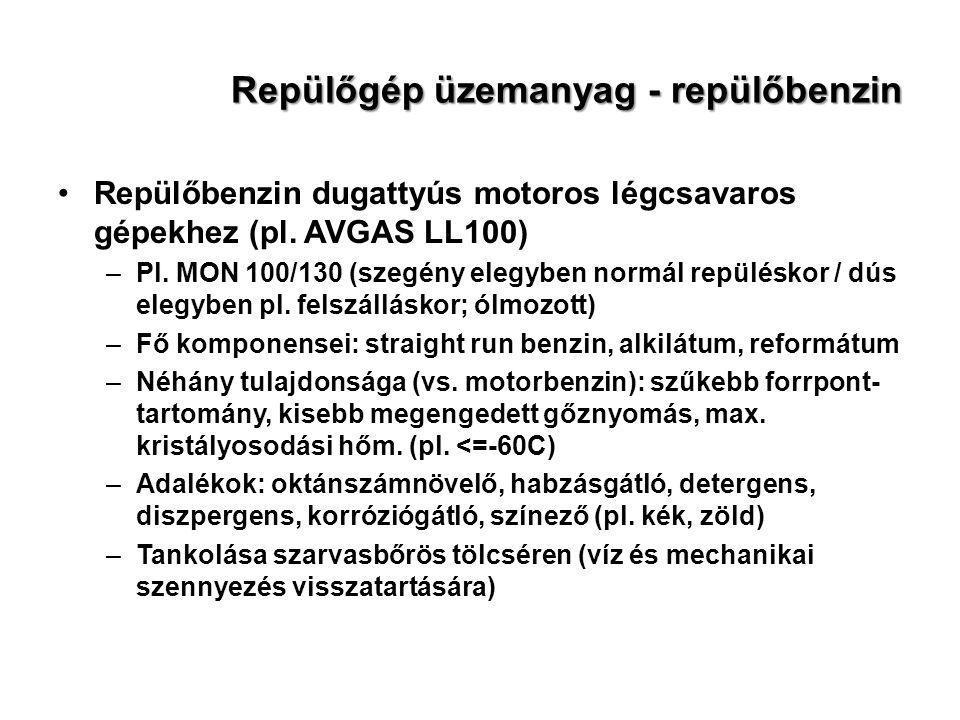 Repülőgép üzemanyag - repülőbenzin Repülőbenzin dugattyús motoros légcsavaros gépekhez (pl. AVGAS LL100) –Pl. MON 100/130 (szegény elegyben normál rep
