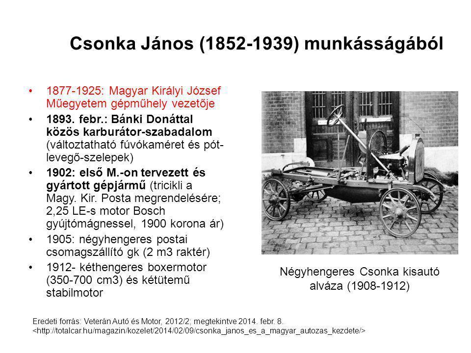 Csonka János (1852-1939) munkásságából 1877-1925: Magyar Királyi József Műegyetem gépműhely vezetője 1893. febr.: Bánki Donáttal közös karburátor-szab