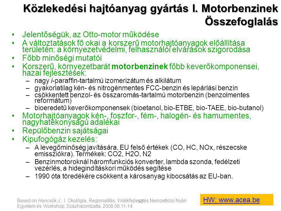 Based on Hancsók J.: I. Ökológia, Regionalitás, Vidékfejlesztés Nemzetközi Nyári Egyetem és Workshop, Százhalombatta, 2008.08.11-14. 50 Közlekedési ha
