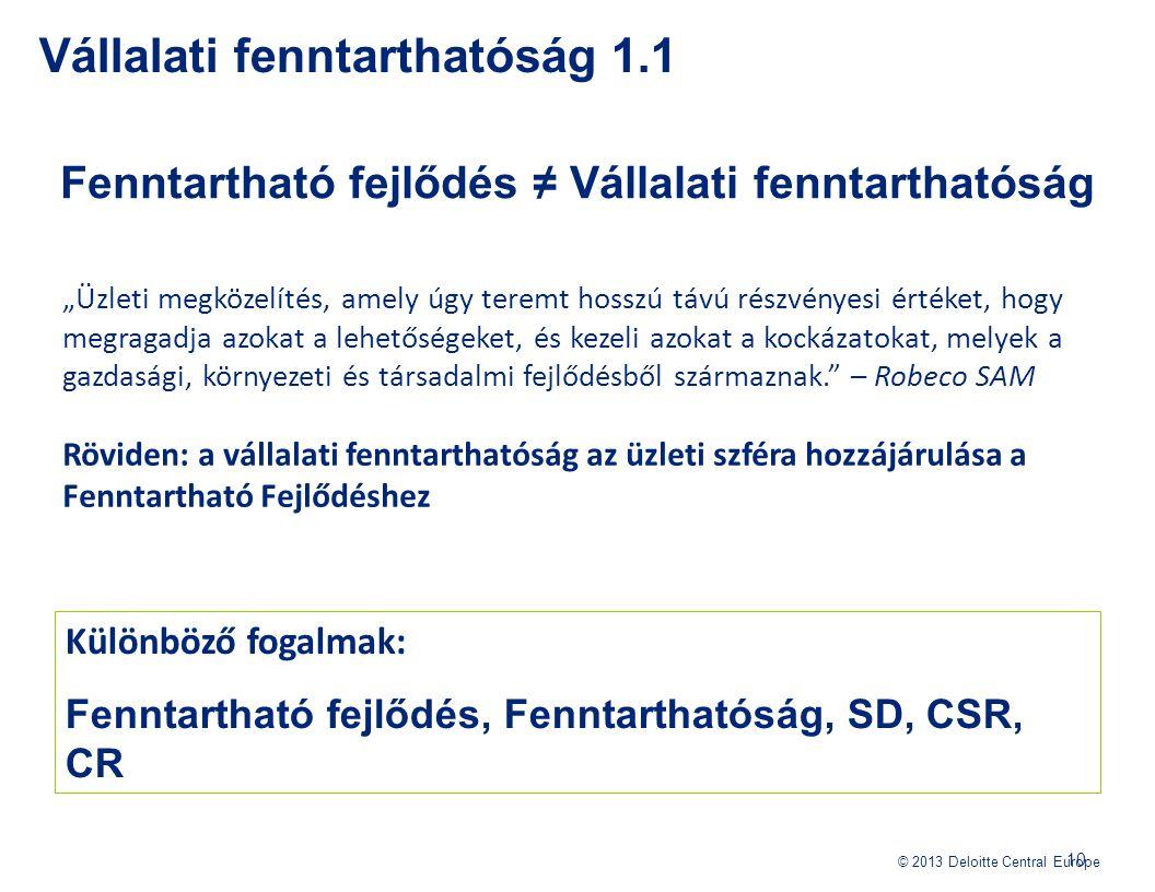 """© 2013 Deloitte Central Europe Fenntartható fejlődés ≠ Vállalati fenntarthatóság Vállalati fenntarthatóság 1.1 10 """"Üzleti megközelítés, amely úgy tere"""