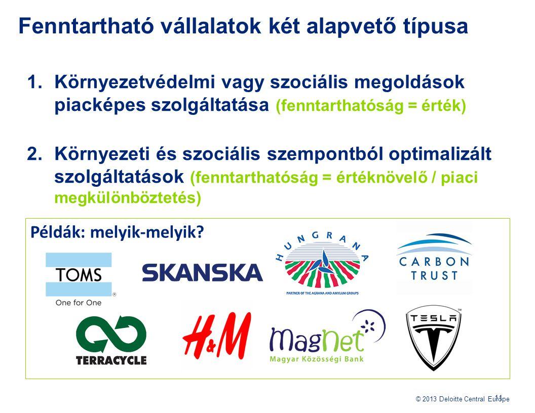 © 2013 Deloitte Central Europe 1.Környezetvédelmi vagy szociális megoldások piacképes szolgáltatása (fenntarthatóság = érték) 2.Környezeti és szociáli