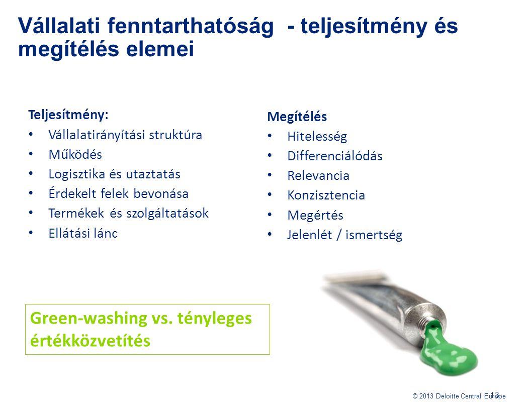 © 2013 Deloitte Central Europe Teljesítmény: Vállalatirányítási struktúra Működés Logisztika és utaztatás Érdekelt felek bevonása Termékek és szolgált