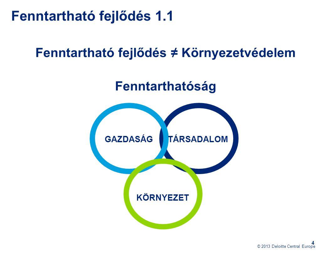 © 2013 Deloitte Central Europe 4 Fenntartható fejlődés ≠ Környezetvédelem Fenntarthatóság Fenntartható fejlődés 1.1 GAZDASÁG KÖRNYEZET TÁRSADALOM