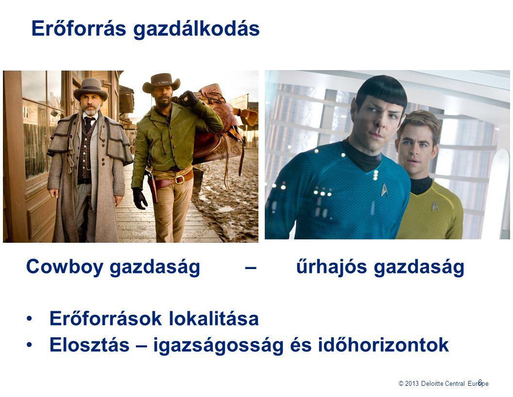 © 2013 Deloitte Central Europe Erőforrás gazdálkodás Cowboy gazdaság – űrhajós gazdaság Erőforrások lokalitása Elosztás – igazságosság és időhorizonto