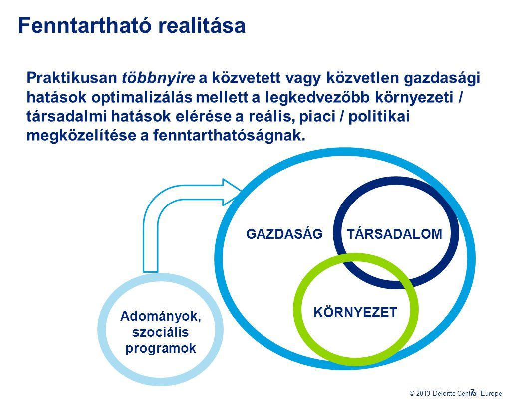 © 2013 Deloitte Central Europe 7 Praktikusan többnyire a közvetett vagy közvetlen gazdasági hatások optimalizálás mellett a legkedvezőbb környezeti /