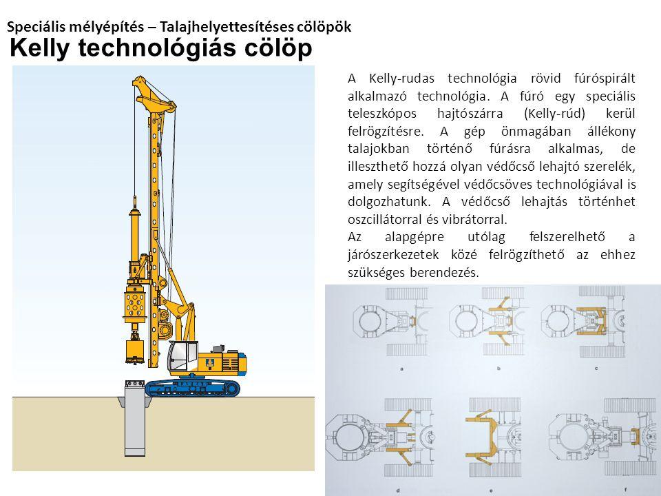 Speciális mélyépítés – Talajhelyettesítéses cölöpök Kelly technológiás cölöp A Kelly-rudas technológia rövid fúróspirált alkalmazó technológia. A fúró