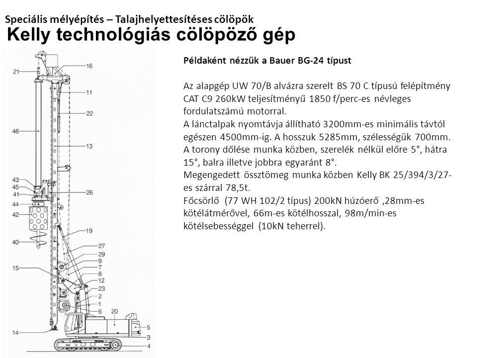 Speciális mélyépítés – Talajhelyettesítéses cölöpök Kelly technológiás cölöpöző gép Példaként nézzük a Bauer BG-24 típust Az alapgép UW 70/B alvázra s