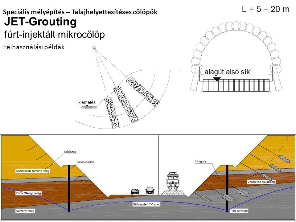 JET-Grouting fúrt-injektált mikrocölöp Speciális mélyépítés – Talajhelyettesítéses cölöpök Felhasználási példák