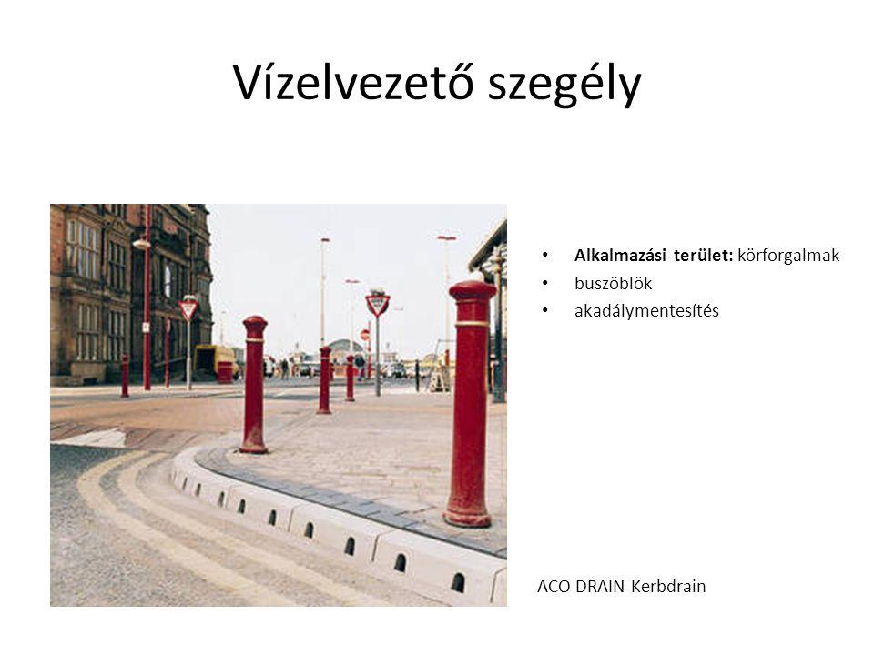 Vízelvezető szegély Alkalmazási terület: körforgalmak buszöblök akadálymentesítés ACO DRAIN Kerbdrain