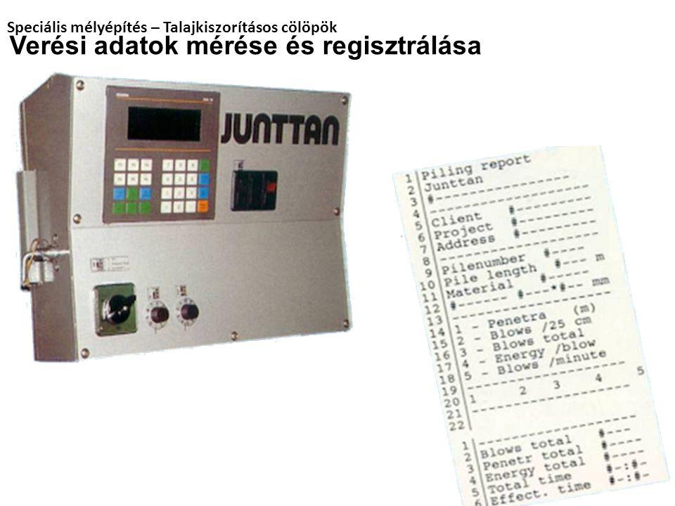 Verési adatok mérése és regisztrálása Speciális mélyépítés – Talajkiszorításos cölöpök