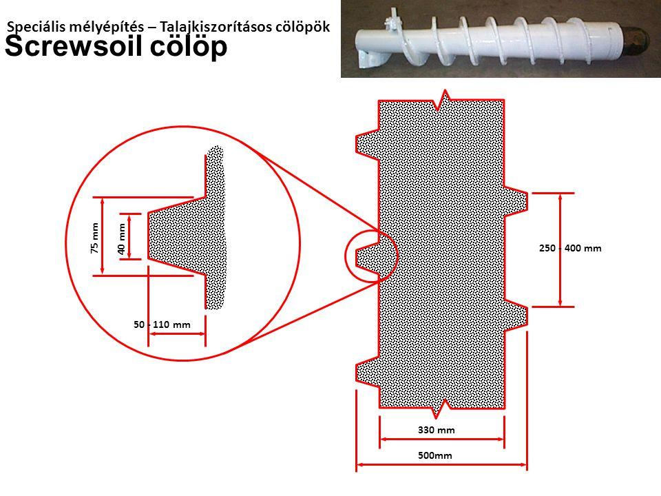 Speciális mélyépítés – Talajkiszorításos cölöpök Screwsoil cölöp 250 - 400 mm 330 mm 500mm 40 mm 50 - 110 mm 75 mm