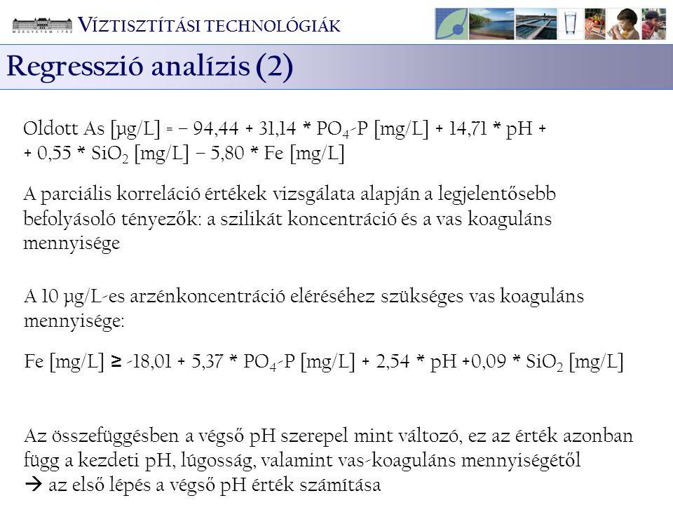 Oldott As [µg/L] = – 94,44 + 31,14 * PO 4 -P [mg/L] + 14,71 * pH + + 0,55 * SiO 2 [mg/L] – 5,80 * Fe [mg/L] A parciális korreláció értékek vizsgálata