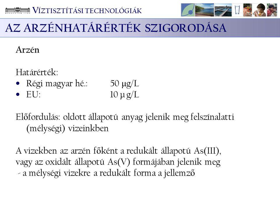 Arzén Határérték: Régi magyar hé.:50 μ g/L EU:10 μ g/L El ő fordulás: oldott állapotú anyag jelenik meg felszínalatti (mélységi) vizeinkben A vizekben
