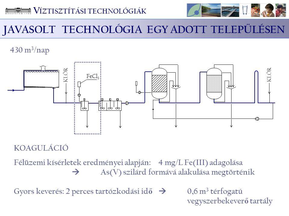 KLÓR FeCl 3 KLÓR 430 m 3 /nap KOAGULÁCIÓ Félüzemi kísérletek eredményei alapján: 4 mg/L Fe(III) adagolása  As(V) szilárd formává alakulása megtörténi